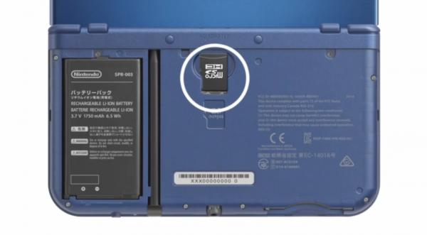 Die SD Karte befindet sich auf der Rückseite des New 3DS.